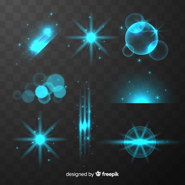 Collection D'effets De Lumière Bleue Brillante Vecteur gratuit