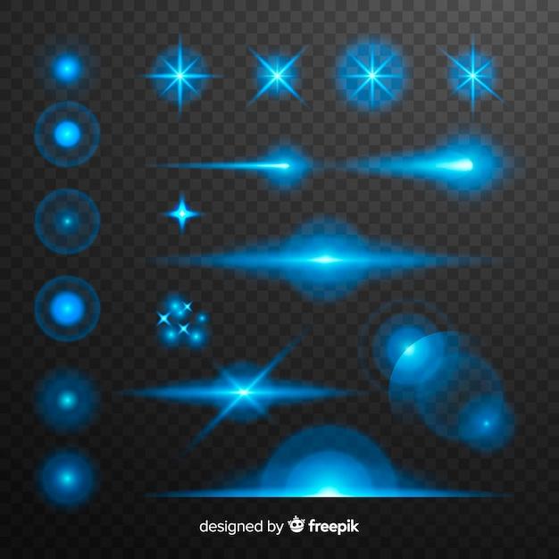 Collection d'effets de lumières bleues technology Vecteur gratuit