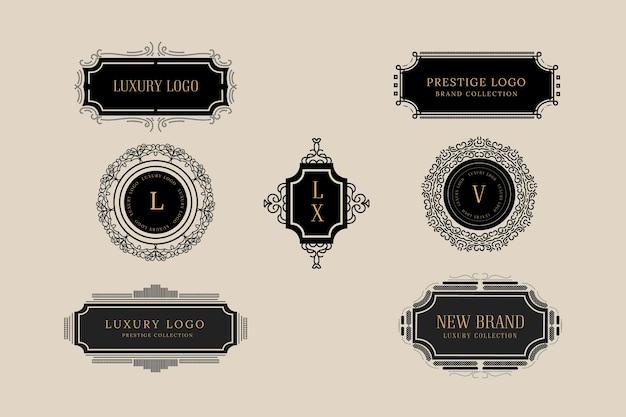 Collection élégante de logo vintage Vecteur gratuit