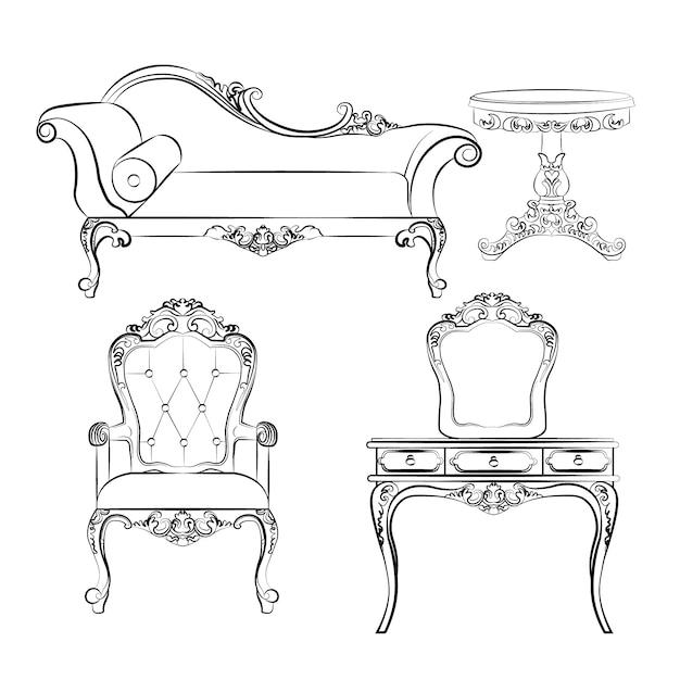 Collection élégante de mobilier Vecteur gratuit