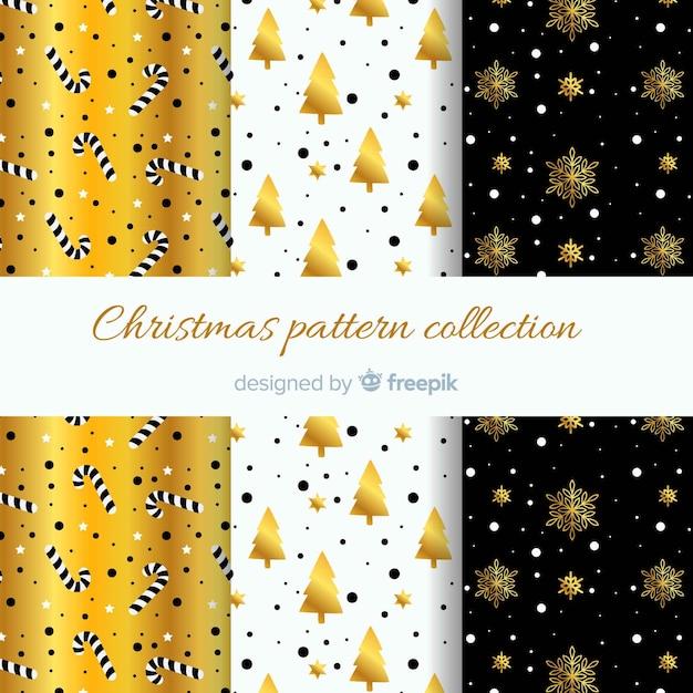 Collection élégante de motifs de noël noir et or Vecteur gratuit