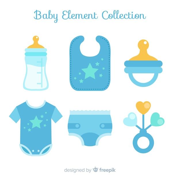 Collection élément bébé plat Vecteur gratuit