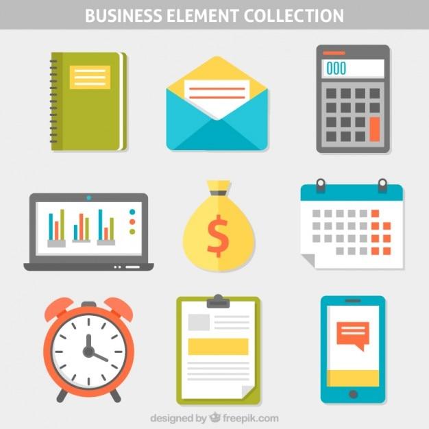 Collection d'éléments d'affaires flat Vecteur gratuit