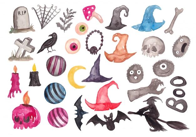 Collection d'éléments de aquarelle dessin animé halloween Vecteur Premium
