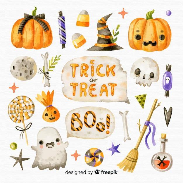 Collection D'éléments D'aquarelle Halloween Vecteur gratuit