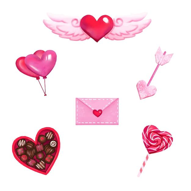Collection D'éléments Aquarelle Saint Valentin Vecteur gratuit