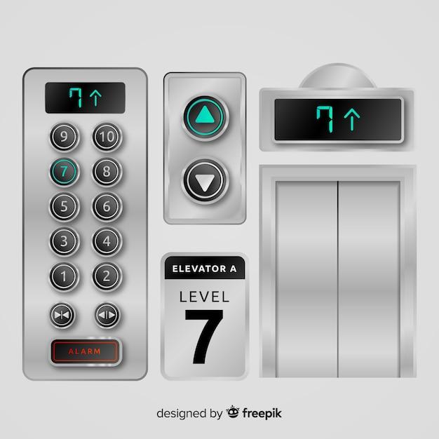 Collection D'éléments D'ascenseur Avec Un Design Réaliste Vecteur gratuit