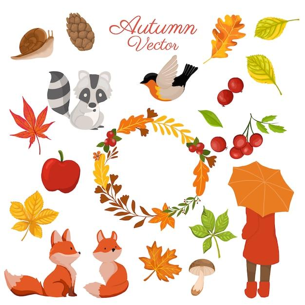 Collection d'éléments d'automne avec couronne décorative Vecteur Premium