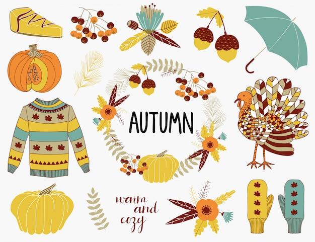 Collection d'éléments d'automne. Vecteur Premium
