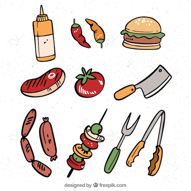 Collection d'éléments de barbecue avec de la nourriture et des outils Vecteur gratuit