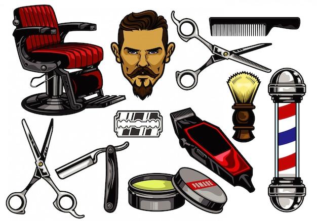Collection d'éléments de barbier Vecteur Premium