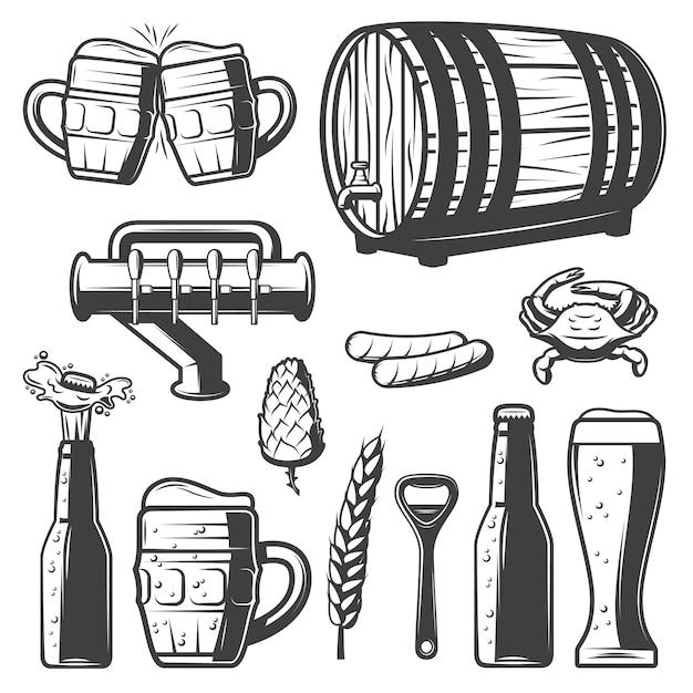Collection D'éléments De Bière Vintage Vecteur gratuit