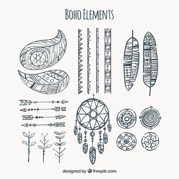 Collection d'éléments de boho dessinés à la main Vecteur gratuit