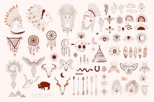 Collection D'éléments Boho Et Tribaux, Portrait De Visage De Femme, Dreamcatcher, Oiseaux, Crâne D'animaux Vecteur Premium