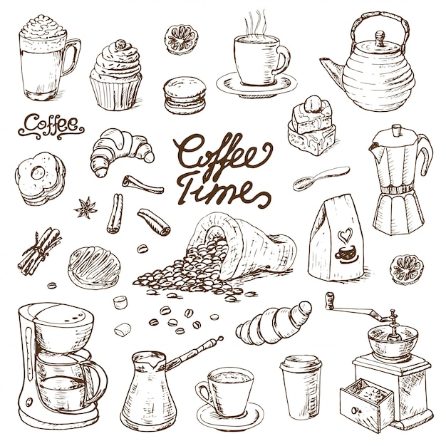Collection d'éléments de café doodle pour le menu du café Vecteur Premium