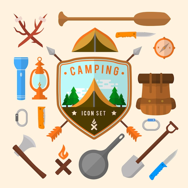 Collection d'éléments de camping Vecteur gratuit
