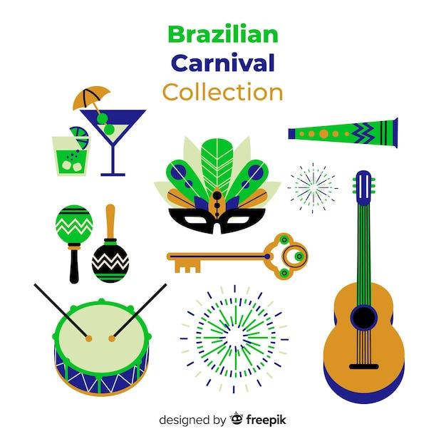 Collection d'éléments de carnaval brésilien Vecteur gratuit