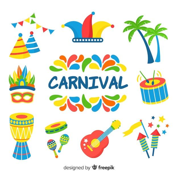Collection d'éléments de carnaval dessinés à la main Vecteur gratuit