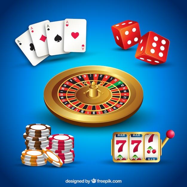 Collection d'éléments de casino sur fond bleu Vecteur gratuit