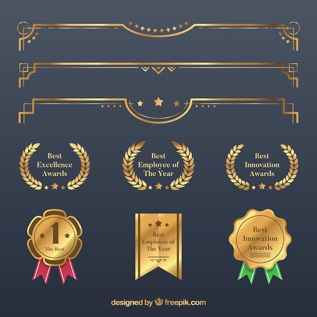 Collection d'éléments de certificat en couleur dorée Vecteur gratuit