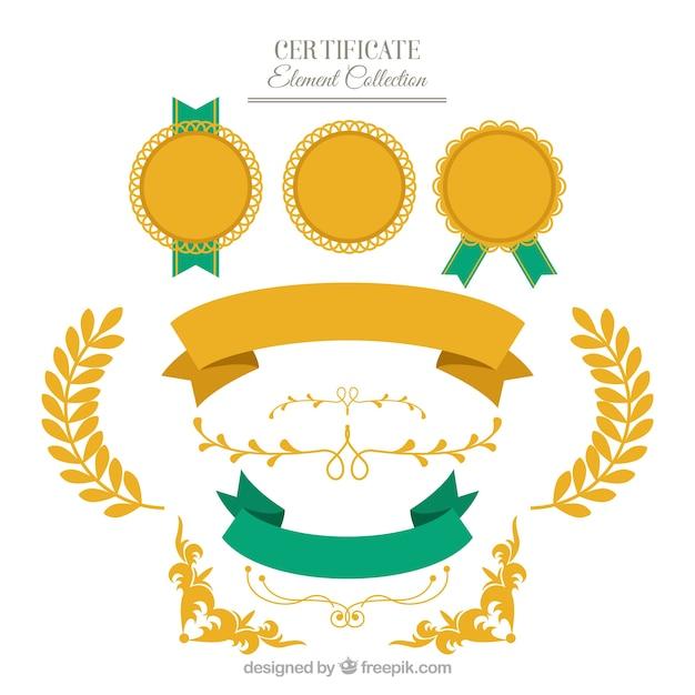 Collection d'éléments de certificat dans le style plat Vecteur gratuit