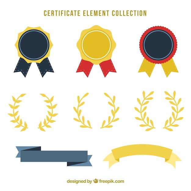 Collection d'éléments de certificat Vecteur gratuit