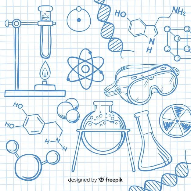 Collection d'éléments de chimie Vecteur gratuit