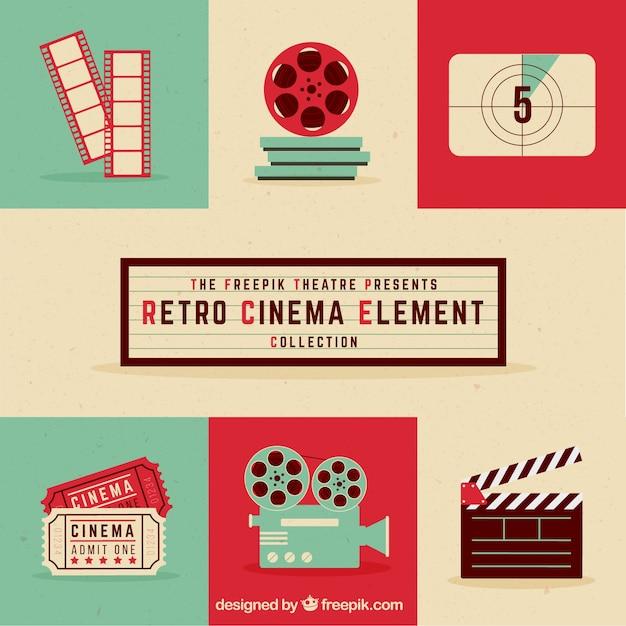 Collection D'éléments De Cinéma Retro Vecteur gratuit