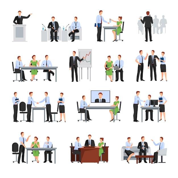 Collection d'éléments de conférence d'affaires Vecteur gratuit