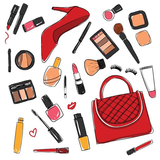 Collection d'éléments de cosmétiques Vecteur gratuit