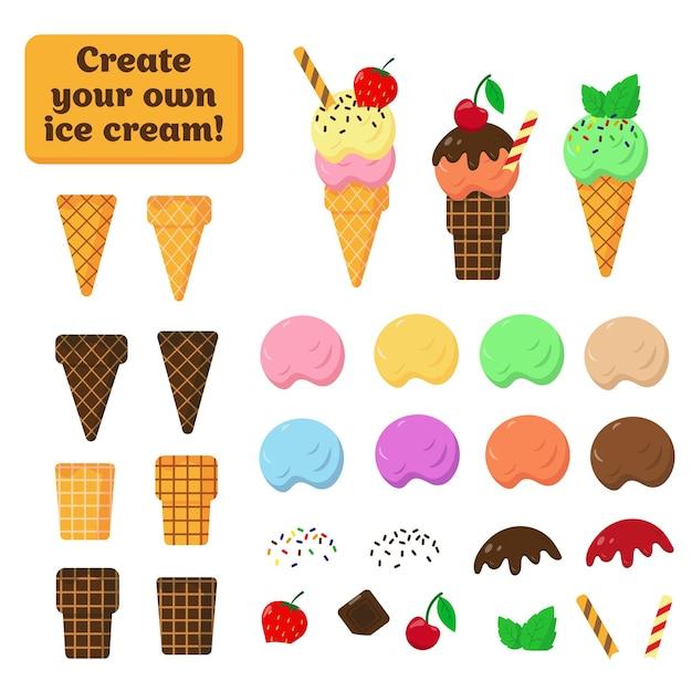 Collection D'éléments De Crème Glacée Et Gaufres Sur Fond Blanc. Parties De Glace Pour Créer Son Propre Design. Vecteur Premium