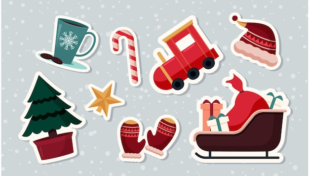 Collection D'éléments Cristmas Au Design Plat Vecteur gratuit