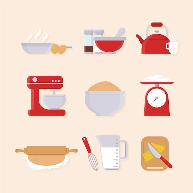Collection D'éléments De Cuisine Illustrés Vecteur gratuit