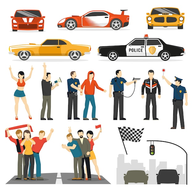 Collection d'éléments décoratifs plats de street racing Vecteur gratuit