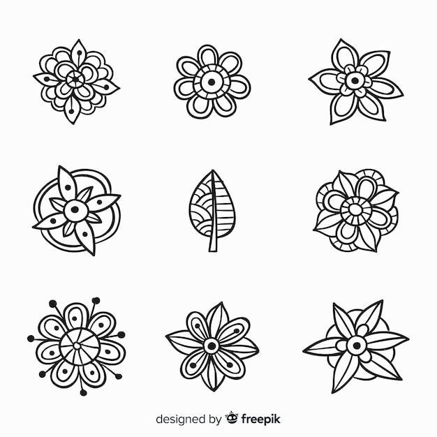 Collection d'éléments de décoration florale dessinés à la main Vecteur gratuit