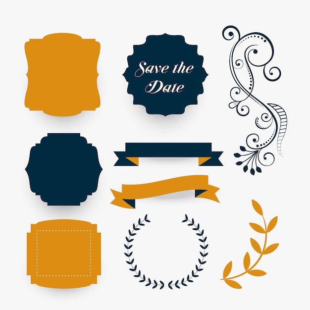 Collection d'éléments de décoration de mariage Vecteur gratuit