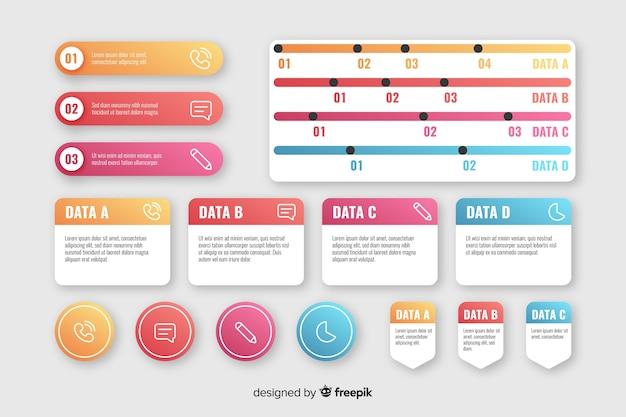 Collection d'éléments de dégradé d'infographie Vecteur gratuit