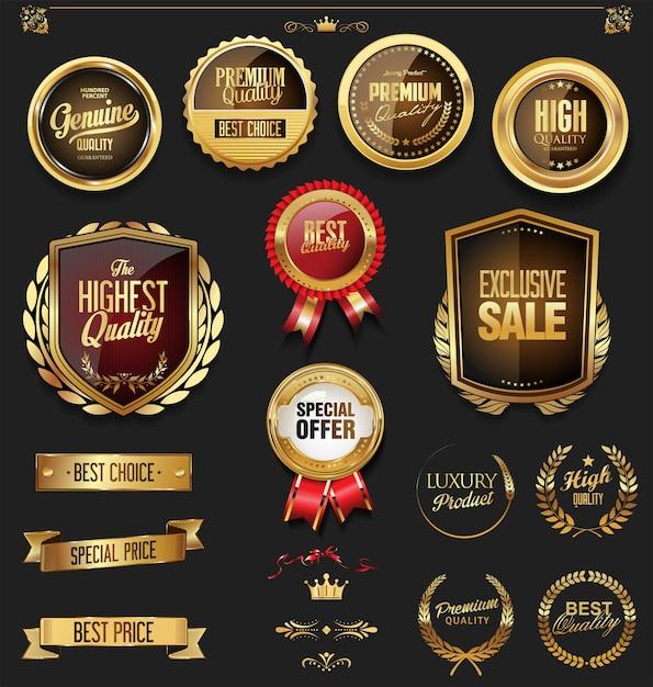 Collection d'éléments de design de luxe en or et noir Vecteur Premium