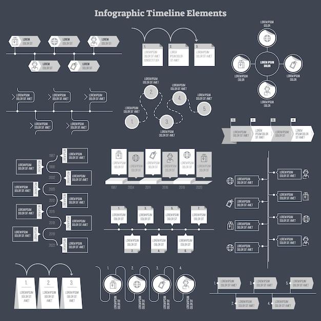 Collection d'éléments de design vectoriel infographique Vecteur Premium