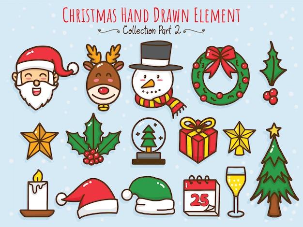 Collection D'éléments Dessinés à La Main De Noël Vecteur Premium