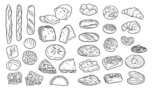 Collection D'éléments Dessinés à La Main Pour La Boulangerie Vecteur gratuit