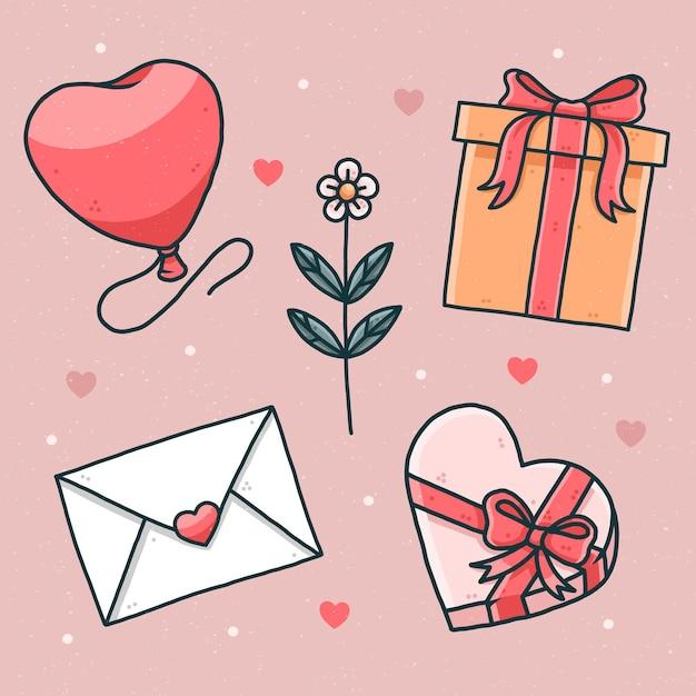 Collection D'éléments Dessinés à La Main Pour La Saint-valentin Vecteur gratuit