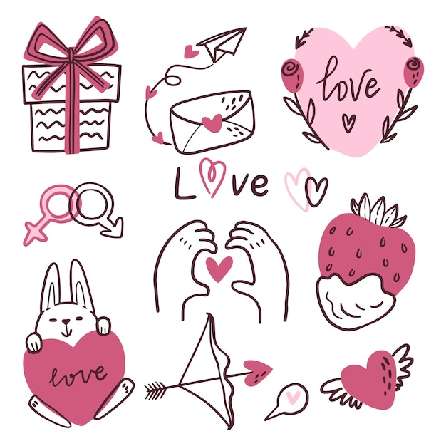 Collection D'éléments Doodle Saint Valentin Vecteur gratuit