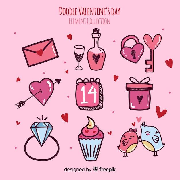 Collection D'éléments Doodle Valentin Vecteur gratuit