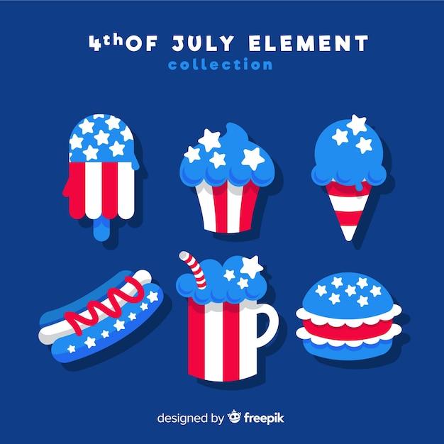 Collection d'éléments du 4 juillet Vecteur gratuit