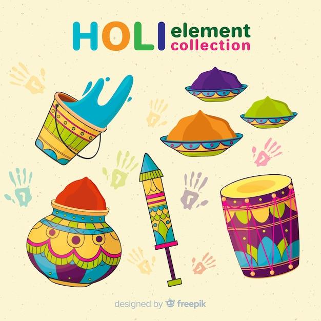 Collection d'éléments du festival holi Vecteur gratuit
