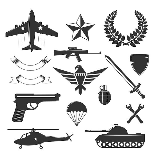 Collection D'éléments D'emblème Militaire Vecteur gratuit