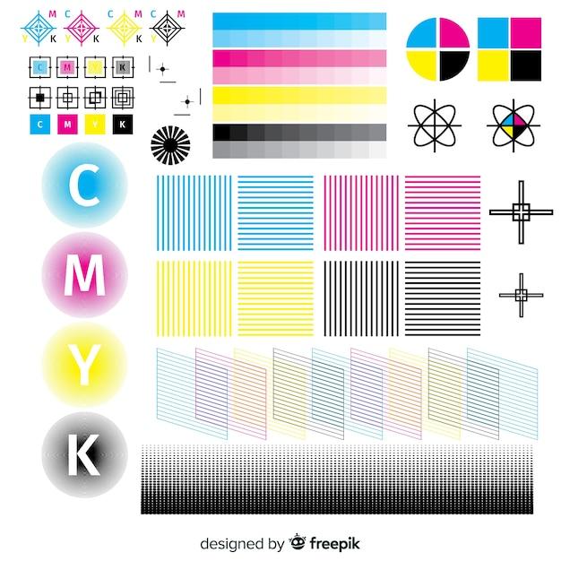 Collection d'éléments d'étalonnage cmyk Vecteur gratuit
