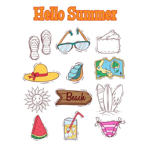 Collection d'éléments de l'été avec bonjour l'été texte et style doodle Vecteur Premium