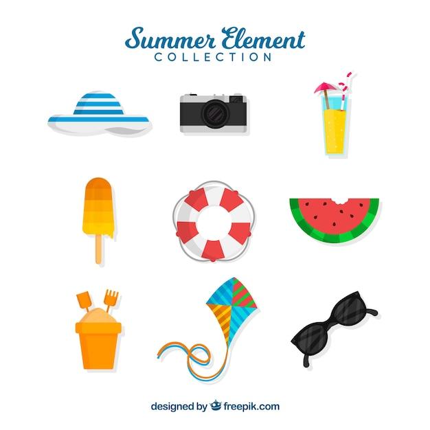 Collection d'éléments d'été dans le style plat Vecteur gratuit